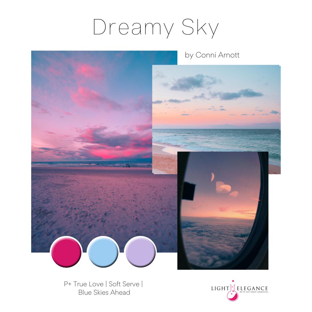 Dreamy Sky P+ Gel Polish Edit by Conni Arnott Mood Board